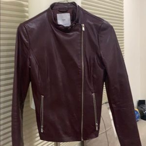 Faux leather jacket in wine red